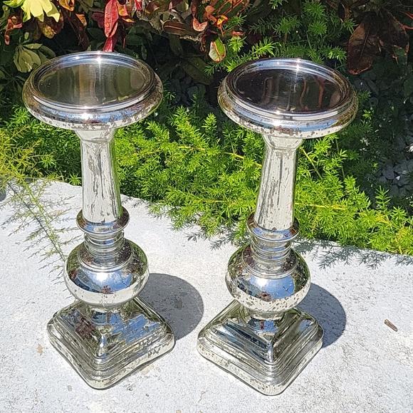 POTTERY BARN Pair of Antique Mercury Glass Pillars